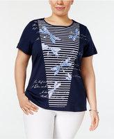 Karen Scott Plus Size Striped Dragonfly-Print T-Shirt, Only at Macy's