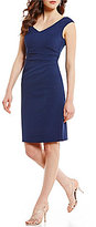 Adrianna Papell V-Neck Cap Sleeve Ruched Stretch Crepe Sheath Dress