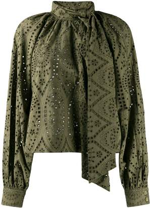 Ganni broderie loose fit blouse