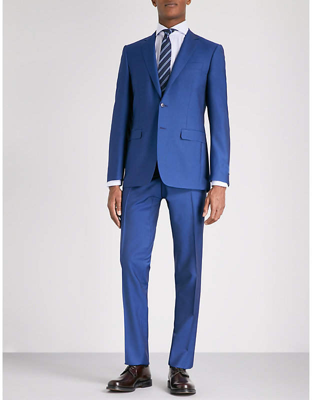 Canali Grained slim-fit wool and mohair-blend suit