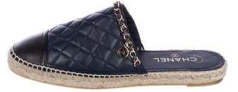 Chanel Chain-Link Espadrille Mules