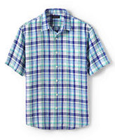 Classic Men's Big & Tall Traditional Fit Short Sleeve Linen Pattern Shirt-Fresh Melon Multi Plaid