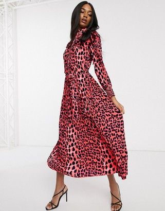 Forever U Collection pleated midaxi dress in bright animal print