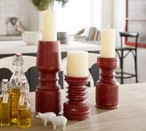 Pottery Barn Weathered Wood Candlestick - Red