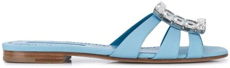 Manolo Blahnik Crystal Applique Detail Flat Sandals