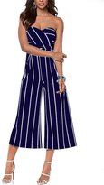 Mojessy Women's Strapless Stripe High Waist Wide Leg Long Pants Jumpsuits Rompers (XL, )