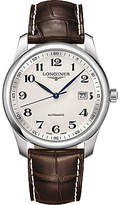 Longines L27934783 Master Collection Automatic Date Alligator Leather Strap Watch, Brown/silver