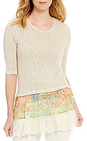 Multiples Elbow Sleeve Solid Sweater Knit & Print Crinkle Hi-Lo Top