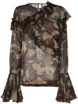 Preen by Thornton Bregazzi Bella camouflage print silk ruffle blouse