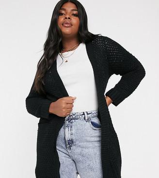 Vero Moda Curve open knit cardigan in black
