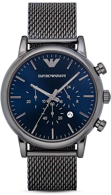 Emporio Armani Chronograph Gunmetal IP Stainless Steel Watch, 46 mm