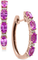 Effy Pink Sapphire (2-1/2 ct. t.w.) and Diamond Accent Hoop Earrings in 14k Rose Gold