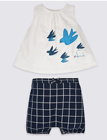 Marks and Spencer 2 Piece Pure Cotton Top & Shorts Outfit