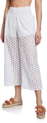 Kisuii Xenia Eyelet-Embroidered Coverup Pants