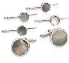 David Donahue Mother-of-Pearl Sterling Silver Cuff Link& Stud Set