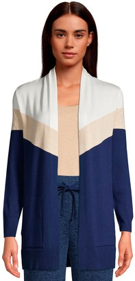 Lands' End Petite Colorblock Open-Front Long Cardigan Sweater