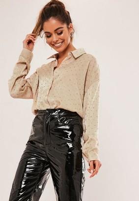 Missguided Polka Dot Glitter Satin Oversized Shirt