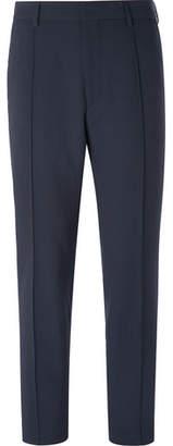 HUGO BOSS Navy Paco Cropped Slim-Fit Checked Seersucker Trousers