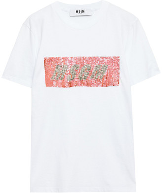 MSGM Crystal And Sequin-embellished Cotton-jersey T-shirt