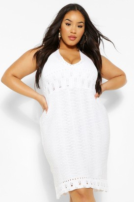 boohoo Plus Halterneck Crochet Mini Dress