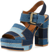 See by Chloe Tara Patchwork Denim Platform Sandal, Navy/Light Blue