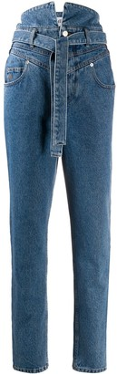 ATTICO Belted Slim Fit Jeans