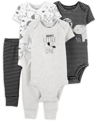Child of Mine by Carter's Baby Boy Mix N Match Short Sleeve Bodysuits & Pants, 5-Piece Outfit Set