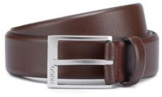HUGO BOSS Grained-leather belt with logo-engraved buckle