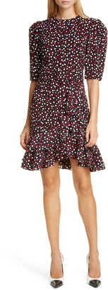 Michael Kors Tiered Belted Scattered Dot Dress