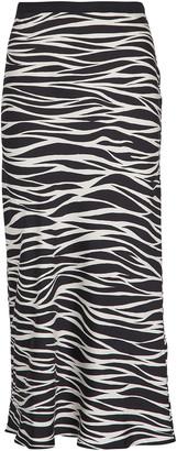 Anine Bing Bar Silk Zebra Midi Skirt
