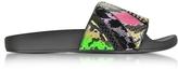 Marc Jacobs Cooper Punk Patchwork Neon & Multicolor Metallic Lurex Elastic Slide