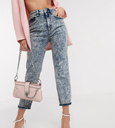 Asos DESIGN Petite Farleigh high waisted slim mom jeans in indigo acid wash