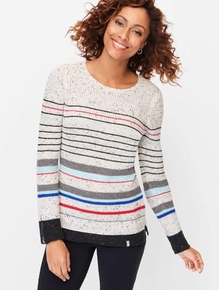 Talbots Tweed Zip Cuff Stripe Sweater