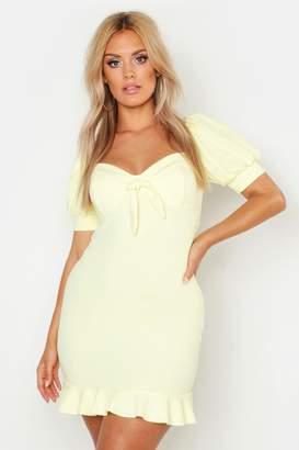 boohoo Plus Peasant Sleeve Fitted Dress