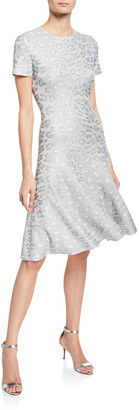 St. John Sequin Animal Jacquard Fit-&-Flare Dress