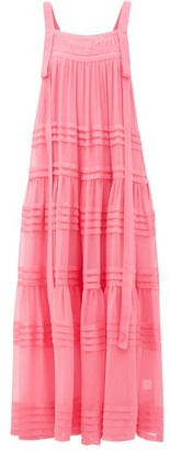 Lee Mathews - Kitty Tiered Silk-crepe Dress - Womens - Fuchsia