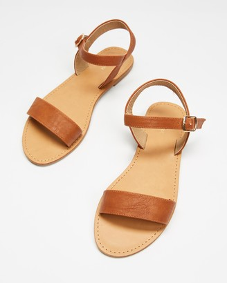 Spurr Women's Brown Flat Sandals - Tessa Sandals - Size 7 at The Iconic