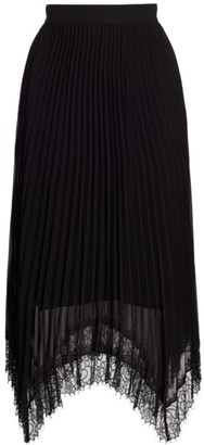 The Kooples Lace Trim Pleated Asymmetrical Skirt