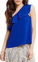 Moa Moa One Shoulder Ruffle Top