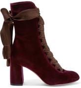 Chloé Lace-up Velvet Ankle Boots - Burgundy