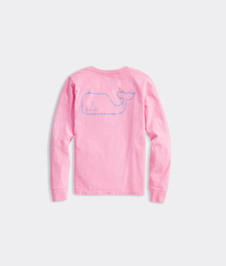 Vineyard Vines Girls Tri-Tone Vintage Whale Long-Sleeve Pocket Tee