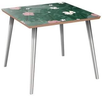 Key Stone Brayden Studio Keystone End Table Brayden Studio Table Top Color: Walnut, Table Base Color: Chrome