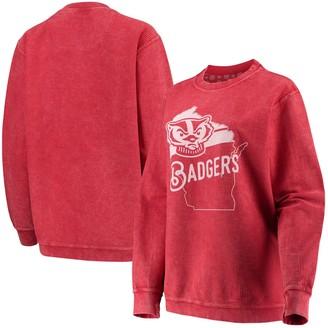 Women's Pressbox Red Wisconsin Badgers Comfy Cord Corduroy Crewneck Sweatshirt