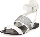 BCBGMAXAZRIA Rift Leather Ankle-Cuff Sandal, Dove/White