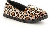 Cabernet Leopard-Print Microfiber Velour Moccasin Slippers
