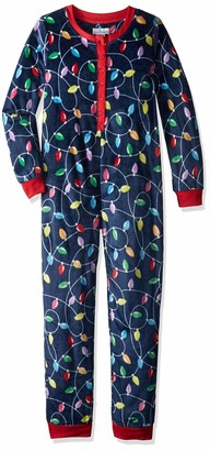 Karen Neuburger Womens Women's Get Lit Family Matching Christmas Holiday Pajama Set Multicolor Light Bulbs Blue Onesie Pj Kid XXS US