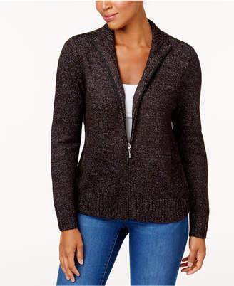 Karen Scott Petite Long-Sleeve Zip-Front Sweater