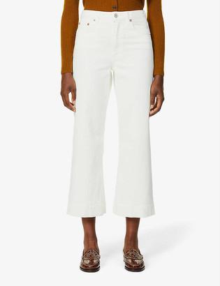 TRAVE Audrey mid-rise wide leg cropped stretch-denim jeans