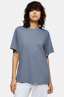 Topshop Womens **Blue Essential T-Shirt By Deep Blue