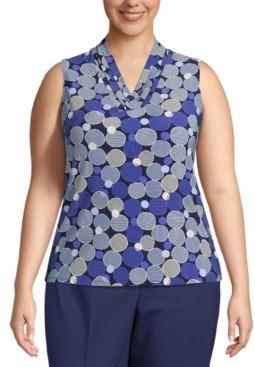 Anne Klein Plus Size Sleeveless Printed Pleat-Neck Top